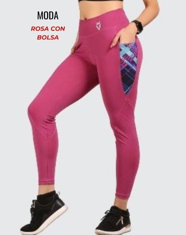 Leggings moda - rosa con bolsa - foto04