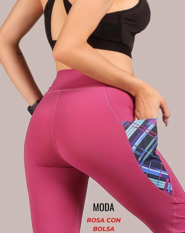 Leggings moda - Rosa con Bolsa foto02