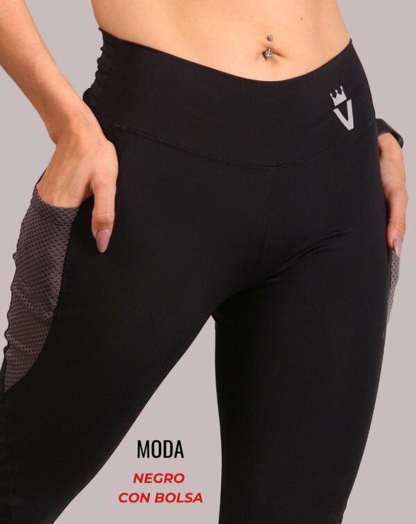 Leggings moda - negro con bolsa